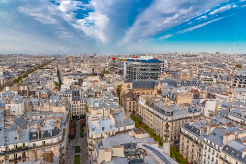 fototapeta na ścianę Paris, France, aerial view of ancient buildings in the center, with the Centre Pompidou and the Saint-Merri church, beautiful city