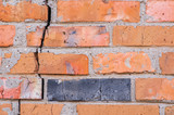 brick wall with a large crack