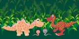 Two dinosaurs met in a wild prehistoric forest.