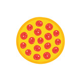 Vector pepperoni pizza icon, sticker isolated on white background. - 250128320