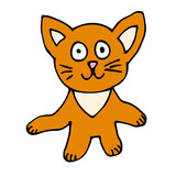 Cartoon doodle cat isolated on white background. Vector illustration.