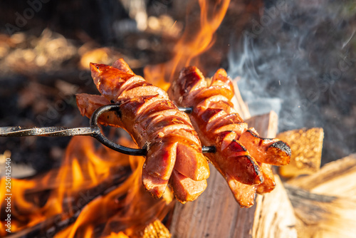 Leinwanddruck Bild Roasted sausages on a stick over the open campfire. Outdoor food preparation