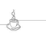 Continuous line drawing of a cup of coffee. Black and white vector illustration