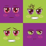 face anime emoticon set - 250147549