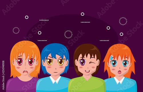 anime girl group manga comic - 250148108