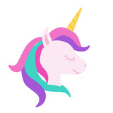 Unicorn Head with colourful hair isolated on white, Hand Drawn Illustration.
