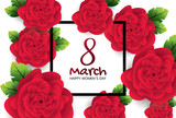 Greeting card with red rose. 8 March, Happy women's day. Vector illustration