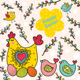 Cute Easter card with hen and chickens.