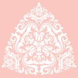 Oriental vector triangular pattern with white arabesques and floral elements. Traditional classic ornament. Vintage pattern with arabesques - 250168953