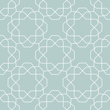 Seamless background for your designs. Modern vector ornament. Geometric abstract light blue and white pattern - 250170956