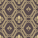 Seamless vector pattern. Modern geometric ornament with golden royal lilies. Classic vintage background - 250171902