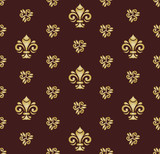 Seamless vector pattern. Modern geometric ornament with royal lilies. Classic vintage brown and golden background - 250172147