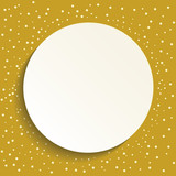 Nice vector frame with dots and volume circle. Fine greeting card. Pattern with golden dots - 250172955
