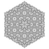 Elegant vintage vector ornament in classic style. Abstract traditional hexagonal black and white pattern with oriental elements. Classic vintage pattern - 250173345