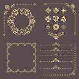 Vintage set of vector horizontal, square and round elements. Different elements for backgrounds, frames and monograms. Classic golden patterns. Set of vintage patterns - 250173501