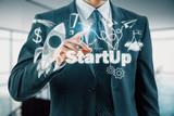 Business scheme concept, startup double exposure background. - 250183506