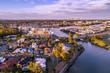 Leinwanddruck Bild - Varsity Lakes suburb luxury real estate at sunset. Gold Coast, Queensland, Australia - aerial landscape