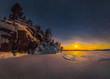 Leinwanddruck Bild - Northern lights on Lake Ladoga in the Republic of Karelia. Full moon and northern lights on the lake. Night panoramas.