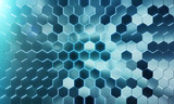 Glowing black and blue hexagons background pattern on silver metal surface 3D rendering