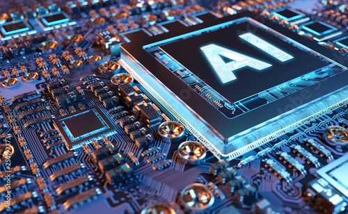 Artificial Intelligence in a modern GPU card 3D rendering