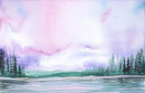 Watercolor illustration of a beautiful summer forest landscape