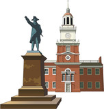 Independence Hall Vector Illustration - 250194797