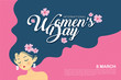 8 march - International Women's Day template design or copy space. Hand drawn woman with long black hair in flat vector illustration.