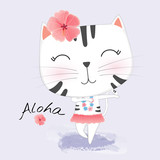 Cute Cat in Hawaiian clothes dances Hula. Wreath and garland of flowers