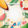 Summer vacation template with beach summer accessories.