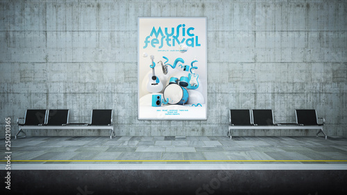 music festival poster billboard mockup on underground station - 250210365