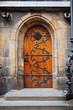 Architectural detail, medieval door closeup. Abstract element of Prague architecture, Czech Republic