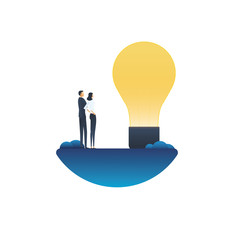 Business creativity vector concept with businessman and businesswoman looking at lightbulb. Symbol of creative solutions, teamwork, brainstorming. © jozefmicic