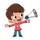 Niño hablando con un megáfono o altavoz
