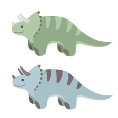 Two cartoon dinosaurs in different colors. Vector illustration.