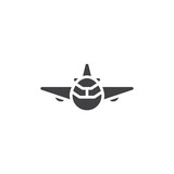 Aircraft front view vector icon. filled flat sign for mobile concept and web design. Airplane front fly simple glyph icon. Symbol, logo illustration. Pixel perfect vector graphics