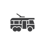 Trolleybus side view vector icon. filled flat sign for mobile concept and web design. Electric trolleybus simple glyph icon. Symbol, logo illustration. Pixel perfect vector graphics