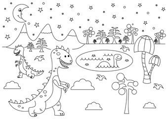 Prehistoric night landscape with funny cartoon dinosaurs - Tyrannosaurus and Brontosaurus. Black and white vector illustration for coloring book