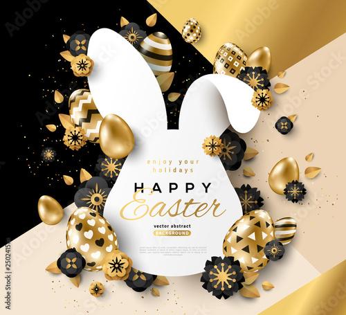 Easter gold rabbit frame - 250241514