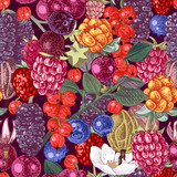 Seamless pattern with hand drawn berries - 250241714