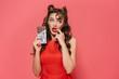 Leinwanddruck Bild - Portrait of a beautiful young pin-up girl wearing dress