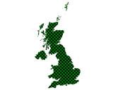 Karte von Grossbritannien in Schachbrettmuster - 250253966
