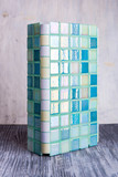 A tile of color of a sea wave with the poured elements - 250262983