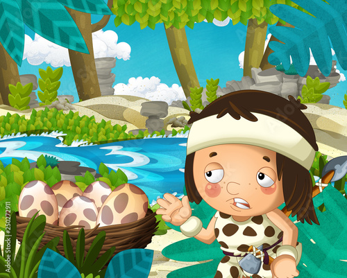 Cartoon scene with caveman in the jungle near the river in the background - illustration for children - 250272911