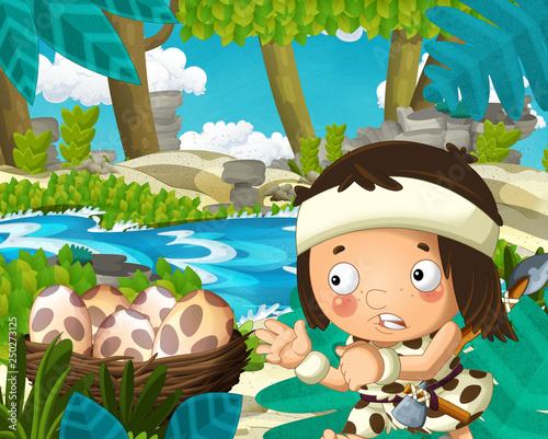Cartoon scene with caveman in the jungle near the river in the background - illustration for children - 250273125