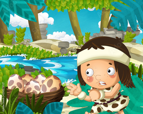 Cartoon scene with caveman in the jungle near the river in the background - illustration for children - 250273517