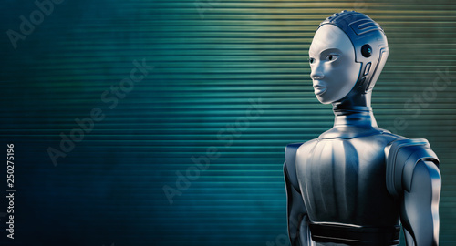 Female robot against reflective blue background. © karelnoppe