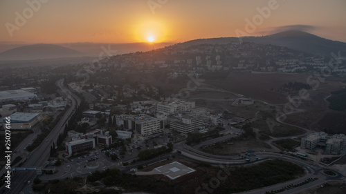 Sunrise at the Afula from hot air balloon