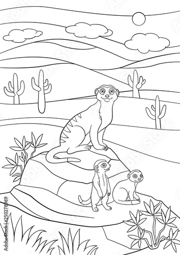 Coloring pages. Mother meerkat with her little cute babies.