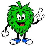 Hop Mascot Pointing - A vector cartoon illustration of a Oktoberfest Hop mascot pointing. - 250282797