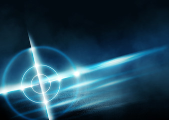 Futuristic abstract background. Empty room background, concrete. Neon blue light smoke. Laser lines, laser target in the center of the room.